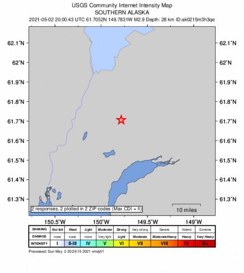 Community Internet Intensity Map for the Houston, Alaska 2.9m Earthquake, Sunday May. 02 2021, 12:00:43 PM