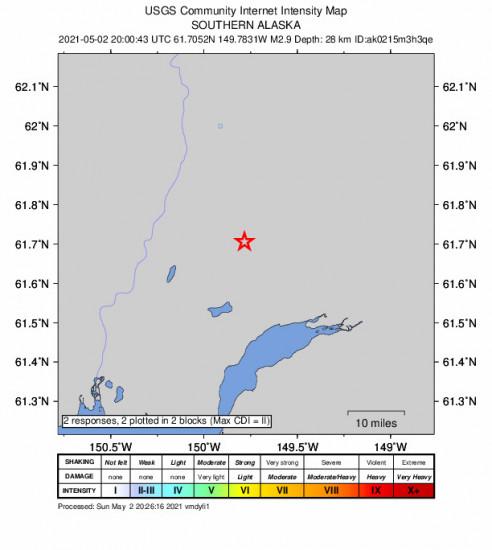 GEO Community Internet Intensity Map for the Houston, Alaska 2.9m Earthquake, Sunday May. 02 2021, 12:00:43 PM