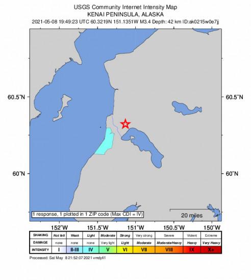Community Internet Intensity Map for the Kasilof, Alaska 3.4m Earthquake, Saturday May. 08 2021, 11:49:23 AM