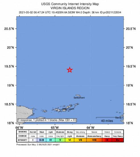 GEO Community Internet Intensity Map for the Cruz Bay, U.s. Virgin Islands 3.97m Earthquake, Sunday May. 02 2021, 2:47:24 AM