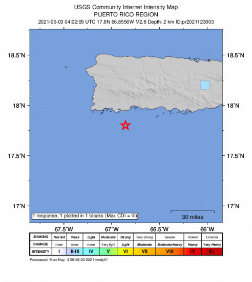 GEO Community Internet Intensity Map for the Guánica, Puerto Rico 2.76m Earthquake, Monday May. 03 2021, 12:02:05 AM