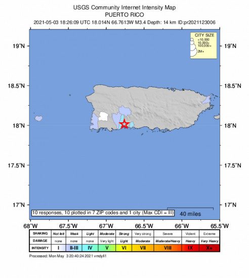 Community Internet Intensity Map for the Magas Arriba, Puerto Rico 3.38m Earthquake, Monday May. 03 2021, 2:26:09 PM