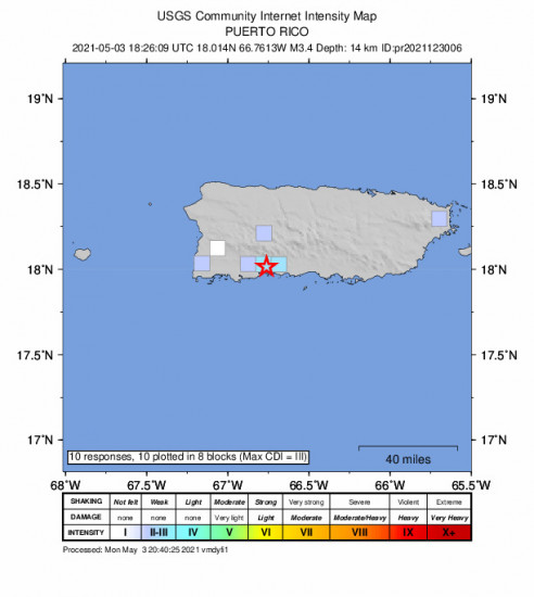 GEO Community Internet Intensity Map for the Magas Arriba, Puerto Rico 3.38m Earthquake, Monday May. 03 2021, 2:26:09 PM