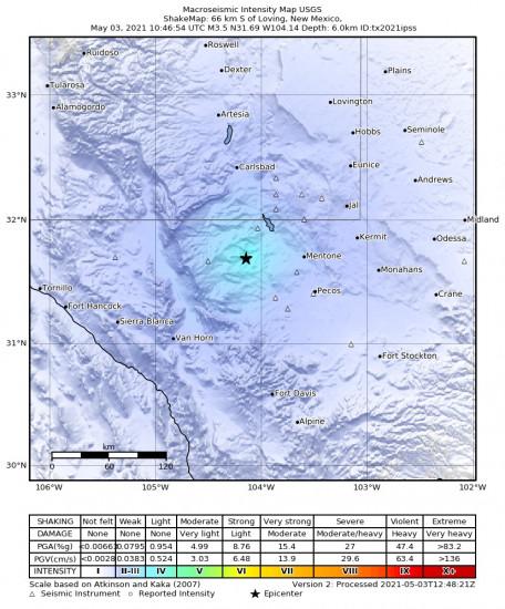 Macroseismic Intensity Map for the Mentone, Texas 3.5m Earthquake, Monday May. 03 2021, 5:46:54 AM
