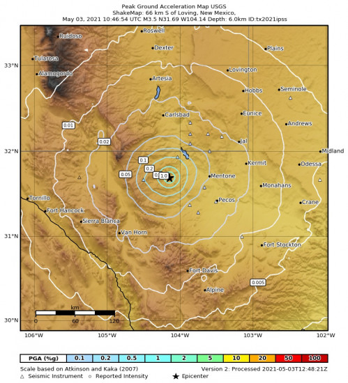 Peak Ground Acceleration Map for the Mentone, Texas 3.5m Earthquake, Monday May. 03 2021, 5:46:54 AM