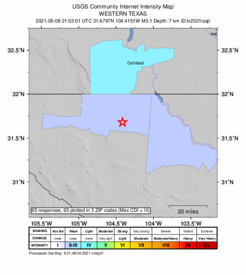 Community Internet Intensity Map for the Whites City, New Mexico 3.1m Earthquake, Saturday May. 08 2021, 4:03:01 PM