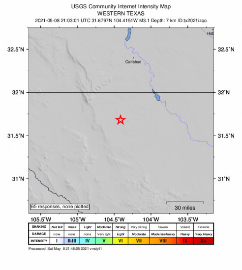 GEO Community Internet Intensity Map for the Whites City, New Mexico 3.1m Earthquake, Saturday May. 08 2021, 4:03:01 PM