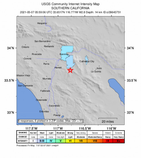 Community Internet Intensity Map for the Idyllwild, Ca 2.78m Earthquake, Thursday May. 06 2021, 10:59:06 PM