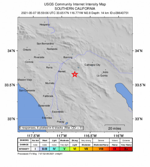 GEO Community Internet Intensity Map for the Idyllwild, Ca 2.78m Earthquake, Thursday May. 06 2021, 10:59:06 PM