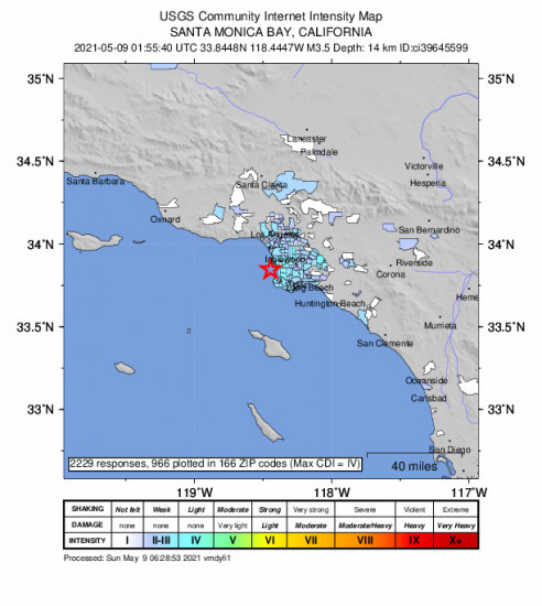 Community Internet Intensity Map for the Hermosa Beach, Ca 3.45m Earthquake, Saturday May. 08 2021, 6:55:40 PM