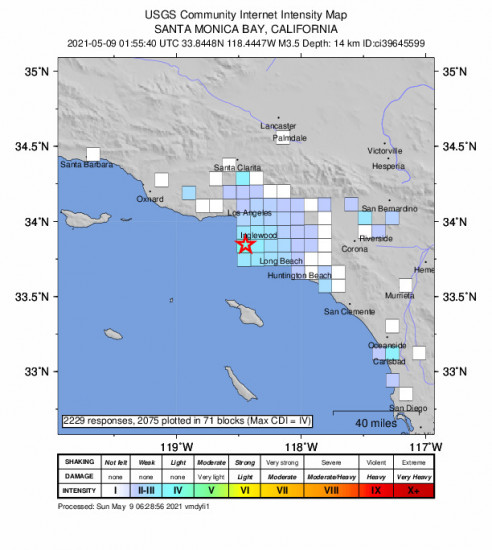 GEO Community Internet Intensity Map for the Hermosa Beach, Ca 3.45m Earthquake, Saturday May. 08 2021, 6:55:40 PM