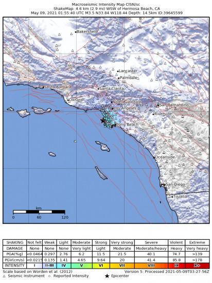 Macroseismic Intensity Map for the Hermosa Beach, Ca 3.45m Earthquake, Saturday May. 08 2021, 6:55:40 PM
