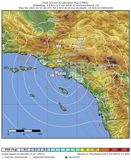 Peak Ground Acceleration Map for the Hermosa Beach, Ca 3.45m Earthquake, Saturday May. 08 2021, 6:55:40 PM