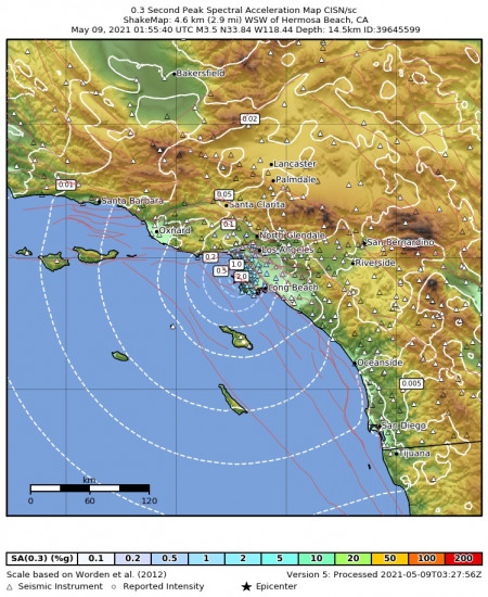 0.3 Second Peak Spectral Acceleration Map for the Hermosa Beach, Ca 3.45m Earthquake, Saturday May. 08 2021, 6:55:40 PM