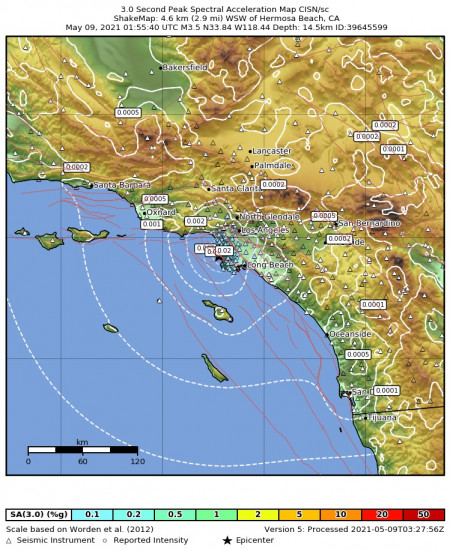 3 Second Peak Spectral Acceleration Map for the Hermosa Beach, Ca 3.45m Earthquake, Saturday May. 08 2021, 6:55:40 PM