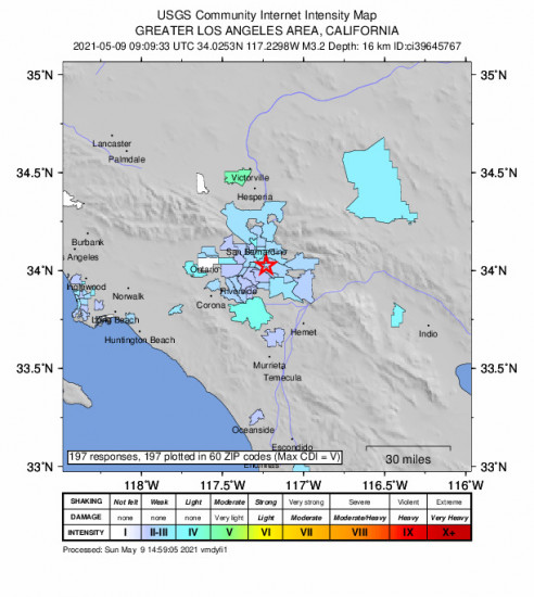 Community Internet Intensity Map for the Loma Linda, Ca 3.24m Earthquake, Sunday May. 09 2021, 2:09:33 AM