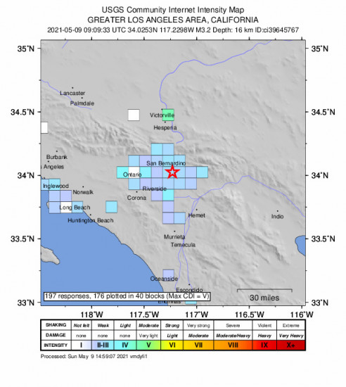 GEO Community Internet Intensity Map for the Loma Linda, Ca 3.24m Earthquake, Sunday May. 09 2021, 2:09:33 AM