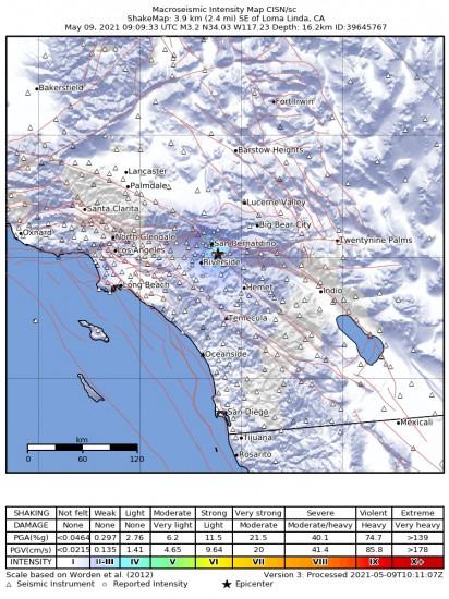 Macroseismic Intensity Map for the Loma Linda, Ca 3.24m Earthquake, Sunday May. 09 2021, 2:09:33 AM