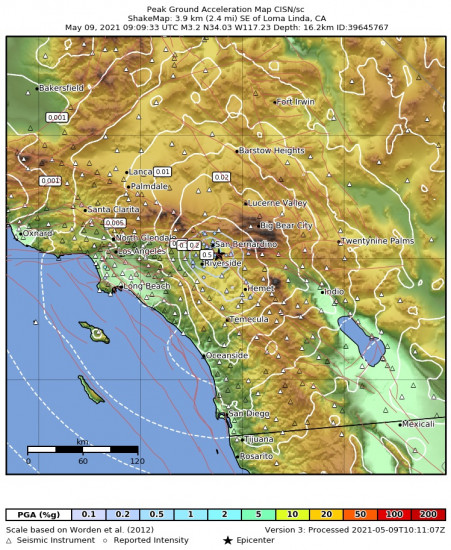 Peak Ground Acceleration Map for the Loma Linda, Ca 3.24m Earthquake, Sunday May. 09 2021, 2:09:33 AM