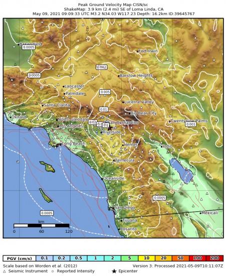 Peak Ground Velocity Map for the Loma Linda, Ca 3.24m Earthquake, Sunday May. 09 2021, 2:09:33 AM