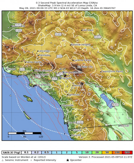0.3 Second Peak Spectral Acceleration Map for the Loma Linda, Ca 3.24m Earthquake, Sunday May. 09 2021, 2:09:33 AM
