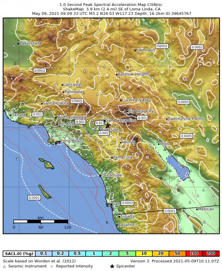 1 Second Peak Spectral Acceleration Map for the Loma Linda, Ca 3.24m Earthquake, Sunday May. 09 2021, 2:09:33 AM