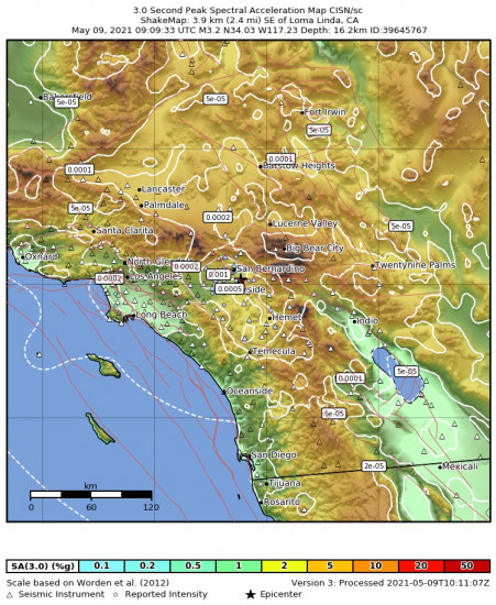 3 Second Peak Spectral Acceleration Map for the Loma Linda, Ca 3.24m Earthquake, Sunday May. 09 2021, 2:09:33 AM