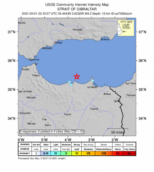 Community Internet Intensity Map for the Al Hoceïma, Morocco 4.3m Earthquake, Saturday May. 01 2021, 10:10:07 PM