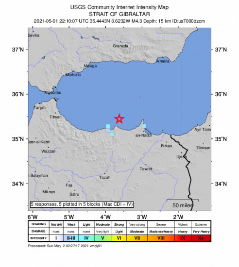 GEO Community Internet Intensity Map for the Al Hoceïma, Morocco 4.3m Earthquake, Saturday May. 01 2021, 10:10:07 PM
