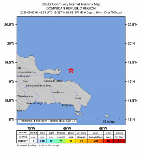 GEO Community Internet Intensity Map for the Miches, Dominican Republic 3.6m Earthquake, Saturday May. 01 2021, 9:46:51 PM