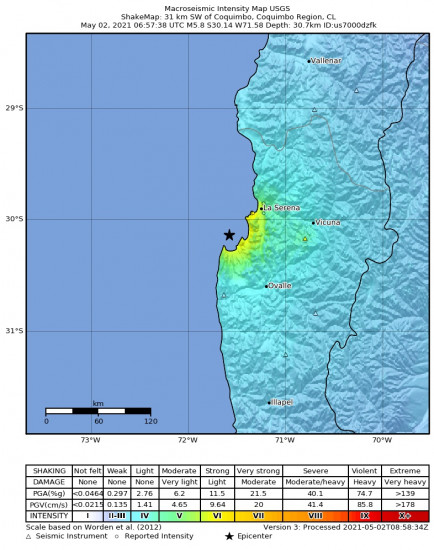 Macroseismic Intensity Map for the Coquimbo, Chile 5.8m Earthquake, Sunday May. 02 2021, 2:57:38 AM