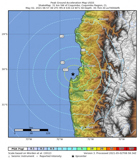 Peak Ground Acceleration Map for the Coquimbo, Chile 5.8m Earthquake, Sunday May. 02 2021, 2:57:38 AM