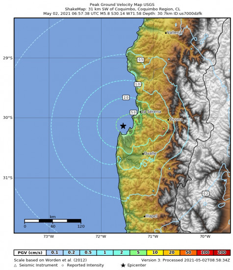 Peak Ground Velocity Map for the Coquimbo, Chile 5.8m Earthquake, Sunday May. 02 2021, 2:57:38 AM