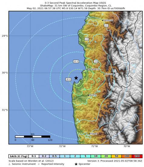 0.3 Second Peak Spectral Acceleration Map for the Coquimbo, Chile 5.8m Earthquake, Sunday May. 02 2021, 2:57:38 AM