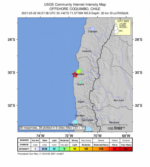 Community Internet Intensity Map for the Coquimbo, Chile 5.8m Earthquake, Sunday May. 02 2021, 2:57:38 AM