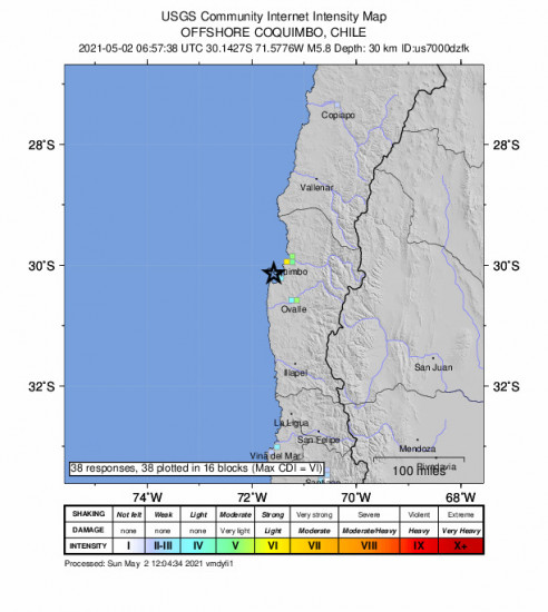 GEO Community Internet Intensity Map for the Coquimbo, Chile 5.8m Earthquake, Sunday May. 02 2021, 2:57:38 AM
