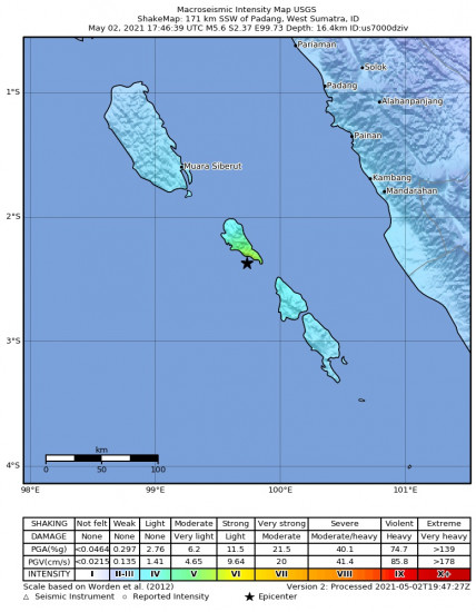 Macroseismic Intensity Map for the Kepulauan Mentawai Region, Indonesia 5.6m Earthquake, Monday May. 03 2021, 12:46:39 AM