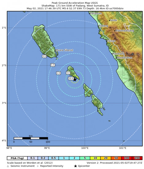 Peak Ground Acceleration Map for the Kepulauan Mentawai Region, Indonesia 5.6m Earthquake, Monday May. 03 2021, 12:46:39 AM