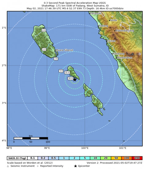 0.3 Second Peak Spectral Acceleration Map for the Kepulauan Mentawai Region, Indonesia 5.6m Earthquake, Monday May. 03 2021, 12:46:39 AM