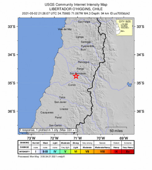 Community Internet Intensity Map for the Chimbarongo, Chile 4.3m Earthquake, Sunday May. 02 2021, 5:26:07 PM