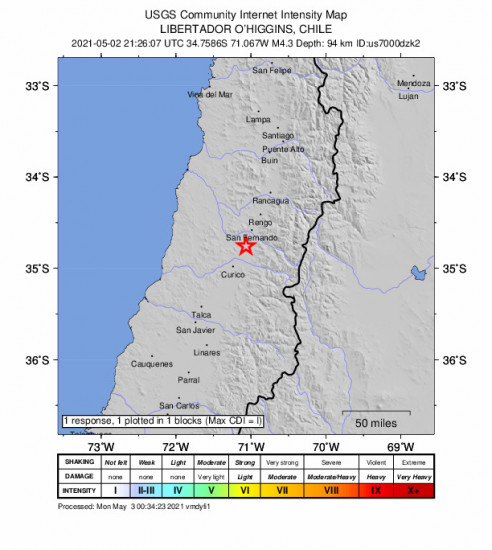 GEO Community Internet Intensity Map for the Chimbarongo, Chile 4.3m Earthquake, Sunday May. 02 2021, 5:26:07 PM