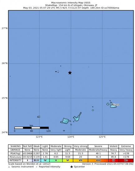 Macroseismic Intensity Map for the Ishigaki, Japan 5.5m Earthquake, Monday May. 03 2021, 2:07:29 PM