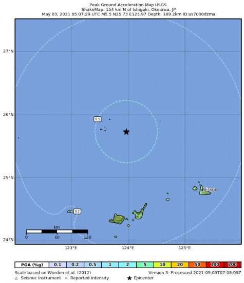 Peak Ground Acceleration Map for the Ishigaki, Japan 5.5m Earthquake, Monday May. 03 2021, 2:07:29 PM