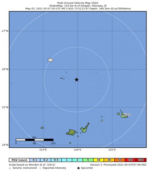 Peak Ground Velocity Map for the Ishigaki, Japan 5.5m Earthquake, Monday May. 03 2021, 2:07:29 PM