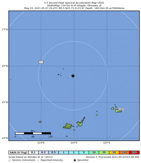 0.3 Second Peak Spectral Acceleration Map for the Ishigaki, Japan 5.5m Earthquake, Monday May. 03 2021, 2:07:29 PM