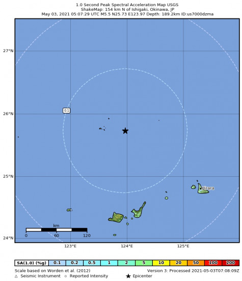 1 Second Peak Spectral Acceleration Map for the Ishigaki, Japan 5.5m Earthquake, Monday May. 03 2021, 2:07:29 PM