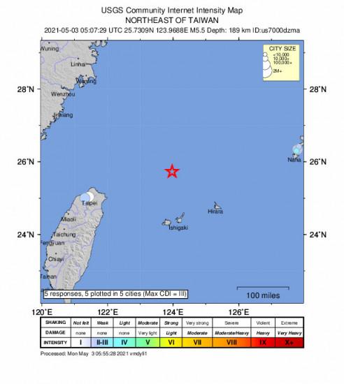Community Internet Intensity Map for the Ishigaki, Japan 5.5m Earthquake, Monday May. 03 2021, 2:07:29 PM
