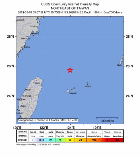 GEO Community Internet Intensity Map for the Ishigaki, Japan 5.5m Earthquake, Monday May. 03 2021, 2:07:29 PM