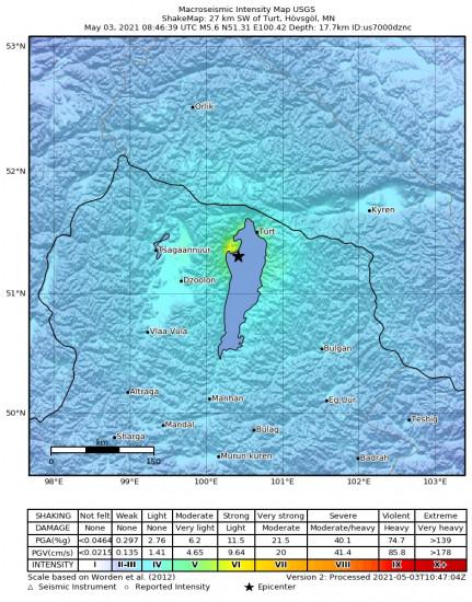 Macroseismic Intensity Map for the Turt, Mongolia 5.6m Earthquake, Monday May. 03 2021, 4:46:39 PM