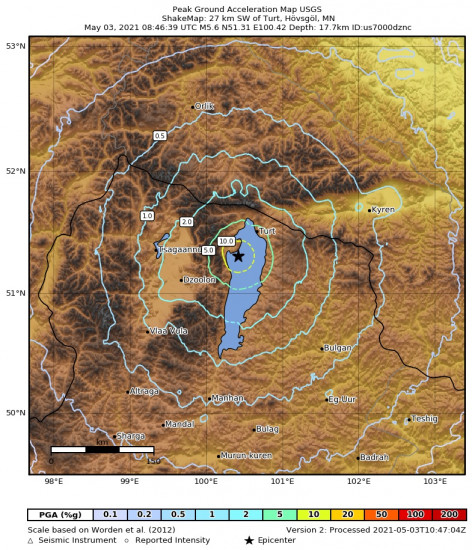 Peak Ground Acceleration Map for the Turt, Mongolia 5.6m Earthquake, Monday May. 03 2021, 4:46:39 PM